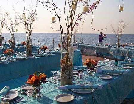 The Wedding Reception on The Beach Blue is a very tropical color that